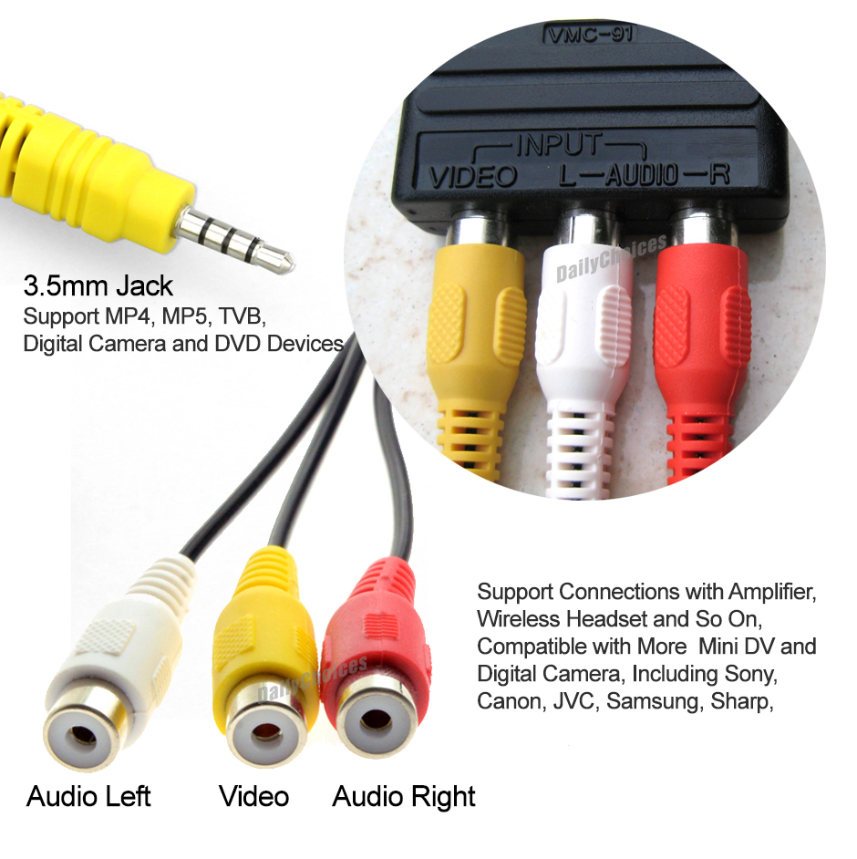 3 5mm Aux Male To 3rca Female Cable Composite Stereo Audio